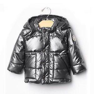 Baby Gap Warmest Metallic Gray Silver Hooded Puffer Coat 12-18 Months